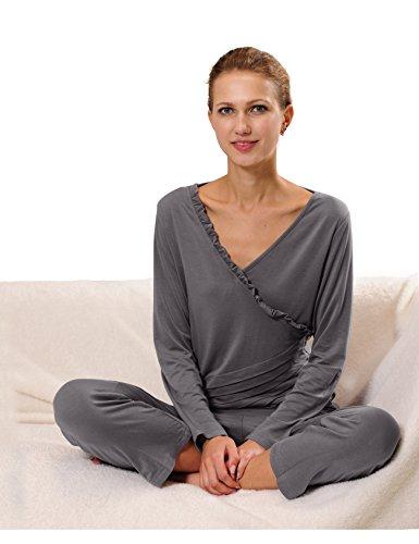 RAIKOU Damen Jersey Fitness Yoga Badeanzug Hausanzug mit Rüschen Raffungen Grau
