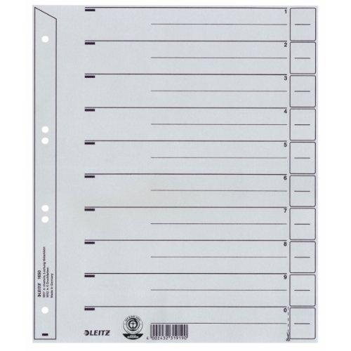 Preisvergleich Produktbild Leitz 16500085 Trennblatt, A4, Karton, Überbreite, grau