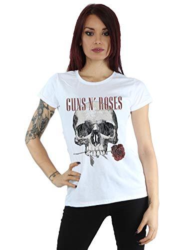 Guns N Roses Damen Flower Skull T-Shirt Medium Weiß