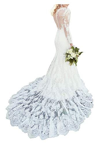 ShineGown Hohe Illusion Ausschnitt Brautkleid Spitze Lange Ärmel Elegante Kapelle Zug Meerjungfrau...