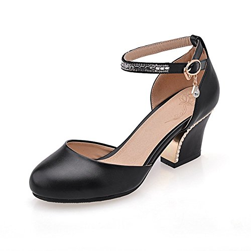 Adee plaqué pour femme Talon Round-Toe polyuréthane Pompes Chaussures Noir