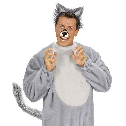 NET TOYS Grauer Tier Schwanz Plüsch Wolfsschwanz Hundeschwanz Kostüm Accessoire Wolf Plüschschwanz Wolfskostüm Zubehör