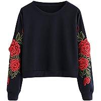 Damen Sweatshirt,Juliyues Frauen Rose Stickerei Applique Sweatshirts Pullover Rundhals Langarm Jumper Casual Tops Bluse