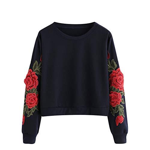 TWIFER 2018 Herbst Langarm Rose Stickerei Applique Sweatshirt Oansatz Pullover