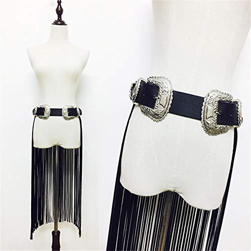 Y-WEIFENG Cinturón de arnés para Mujer Cinturón de imitación de Piel de Cuerpo Ajustable Hippie Boho Fringe Larga Borla Cinturón Correa con Doble Hebilla Fiesta de Disfraces Escenario Falda `