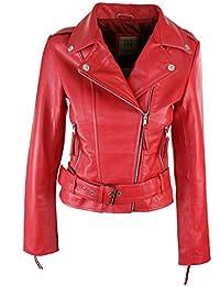 huge selection of ca2f3 8a77b In Pelle Biker - Rosso / Donna: Abbigliamento - Amazon.it
