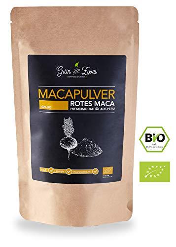 Bio Maca Pulver rot 200g Premium Auslese von GrünHochZwei | Superfood in kontrollierter Qualität aus Südamerika (Peru) | Rotes Macapulver für weibliche Libido und Haarwachstum