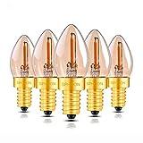 5er-Pack C7 Vintage Glühfaden LED Kerze ersetzt 5W E14 0.5W 50lm 2200K extra warmweiß 360° 230V flimmerfrei, nicht dimmbar [Energieklasse A++]
