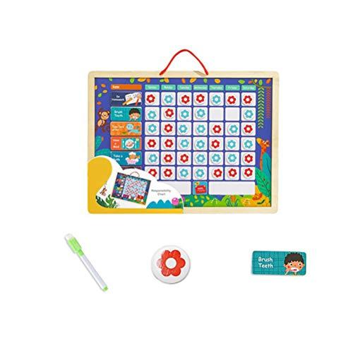 STOBOK Chore Chart Magnetische Belohnungstafel Sternchenplan Belohnungstabelle Belohnung Kalender mit Kreidemarker für Baby Kinder Entwicklung Spielzeug
