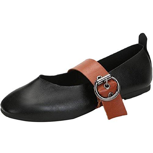 Vogstyle Femme Ballerine en Cuir Rétro Chaussures Talon Plat Bout Fermé Style 3 Blanc EU37-37.5=CH38