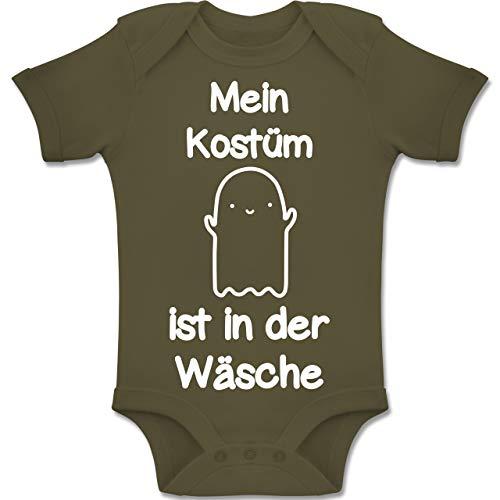 Shirtracer Anlässe Baby - Mein Kostüm ist in der Wäsche Gespenst - 6-12 Monate - Olivgrün - BZ10 - Baby Body Kurzarm Jungen - Verrückte Gespenster Kostüm
