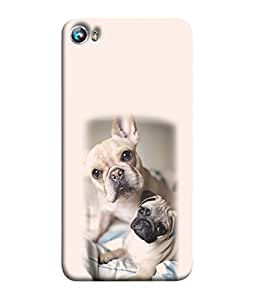 PrintVisa Designer Back Case Cover for Micromax Canvas Fire 4 A107 (two puppies playing on bed)