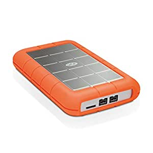 LaCie STEU1000400 Triple 1 TB Externe robuste Festplatte (6,4 cm (2,5 Zoll) Rugged, Staub-, Stoss- und Spritzwasser- geschützt, AES 256-bit-Verschlüsselung, USB 3.0 und FireWire 800)