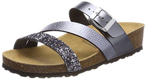Lico Damen Natural Glitter Pantoletten, Grau (Anthrazit), 42 EU Damen Schuhe Glitter