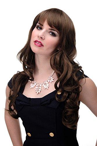 WIG ME UP - Damen Perücke große kräftige Locken, welligem Haar mit glattem Pony Braun Mittel-Goldbraun ca. 65 cm ()