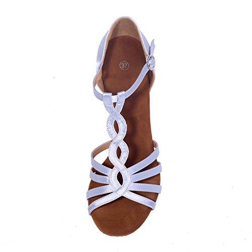 Donne latino scarpe da ballo PU con 7,5 cm fibbia interna cuciture nude/multi-colore grandi cantieri Brown