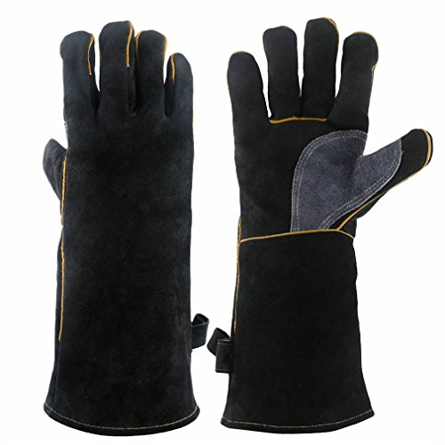 CCBETTER 16 Inches Forge Welding & BBQ Leather Gloves, 932°F Extreme Heat/Fire Resistant with Long Sleeve for Grill/Fireplace/Tig Welder/Barbecue/Oven/Wood Stove/Cooking/Baking