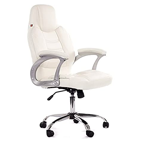 Office Chair Executive Computer Desk High back Faux leather Luxuy height adjustable with armrest Venecia in White by MY SIT - mobili per ufficio