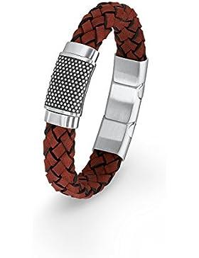 s.Oliver Herren-Armband 20+1,5 cm geflochten Edelstahl Leder 21.5 cm 2015052