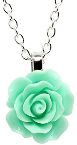 Bluebubble ENGLISH ROSE 22mm Magic Mint Green Carved Rose Necklace With FREE Gift Box