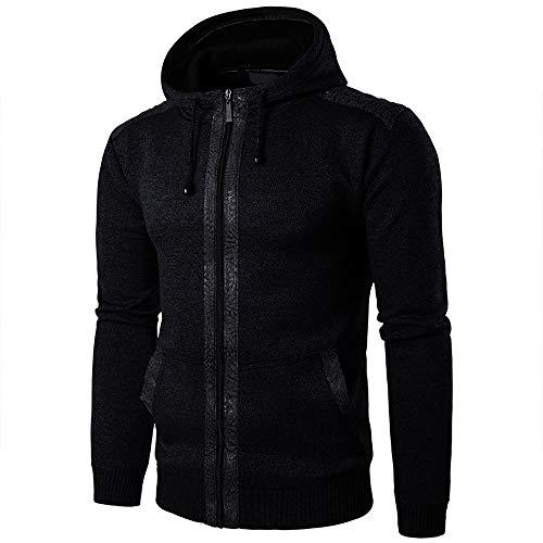 Sweat-Shirt à Capuche Homme Manches Longues Slim Pas Cher Sweats Zippé Tops Veste Unicolore Hiver éPais Manteau Polaire Chaud Outwear (XL, Noir)