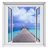 Vista Al Mar 3D Ventana Falsa Etiqueta De La Pared Dormitorio Decorativo Sala De Estar Hotel Dormitorio TV Etiqueta De Fondo 55X60Cm