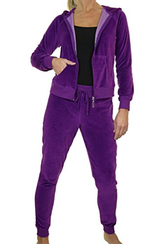 ICE (6448-3) Slim Fit Kapuzen-Sweat Weiches Velour Lounge Anzug Purple - Sweat College Anzüge
