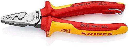 Knipex 97 78 180 T Crimpzange für Aderendhülsen mit Befestigungsöse isoliert mit Mehrkomponenten-Hüllen, VDE-geprüft 180 mm, Rot, Gelb