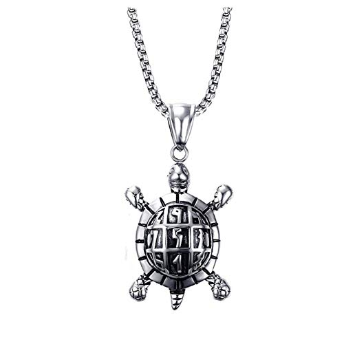 YABEME Männer Edelstahl Schildkröte Anhänger Halskette Antike nettes Schmuck Silber, Kette 'Free 24'
