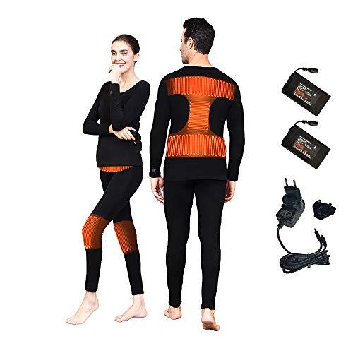 J-Jinpei Set Biancheria Intima Termica Abbigliamento Riscaldato per Uomo e Bonna (Top + Pantaloni) Nero Ricaricabile Batteria, 3 Impostazioni di Calore Taglia 2XL