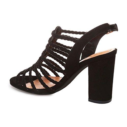 La Modeuse - Sandales à talon style spartiates en suédine Noir