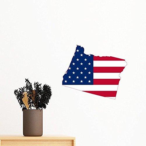 Die Vereinigten Staaten von Amerika USA Oregon Map Stars and Stripes Flagge Form Abnehmbare Wandtattoo Kunst Aufkleber Wandbild DIY Tapete für Raum Aufkleber 35cm (Vereinigte Staaten-map-kunst)