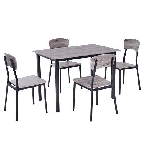 91739d076522 HOMCOM 5 Piezas Conjunto de Mesa y 4 Sillas de Comedor Juego Muebles de  Cocina Sala