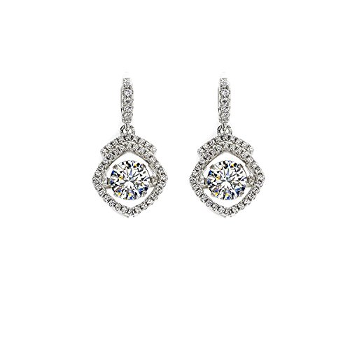 NaNa Frauen quadratische Halo Tanzen Stein baumeln Ohrringe Sterling Silber (weiß, - Diamond Ohrringe Baumeln