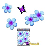JAS Stickers® FLOWER Frangipani Car Sticker - Blue Double Plumeria + BUTTERFLY Animal Small Vinyl Decal Pack For Laptop Luggage Bicycle Bike Caravans Van Camper Trucks & Boats - ST00024BL_SML