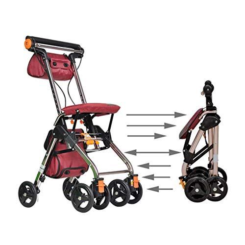 Lcff deambulatore portable rollator walker con seat deambulatore ausilio for la mobilità del carrello con borsa della spesa passeggino scooter fold leggero 4 doppie ruote brake system (color : red)