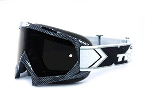 TWO-X Race Crossbrille Carbon Glas getönt schwarz grau MX Brille Motocross Enduro Motorradbrille Anti Scratch MX Schutzbrille