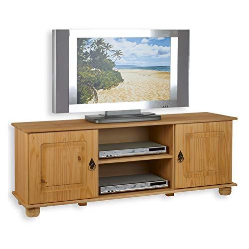 IDIMEX TV Lowboard Belfort Kiefer massiv in gebeizt gewachst 134 x 50 cm Fernsehtisch Schrank Bank Rack Fernsehkommode mit 2 Türen und 2 Ablagen