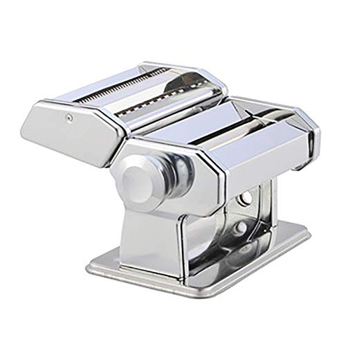 CRJT Shop Manual Pasta Maker Machine, Household Small Noodle Cutter Stainless Steel Sturdy Easy to Assemble for Fresh Homemade Fettuccine Spaghetti Lasagne (Color : Silver)