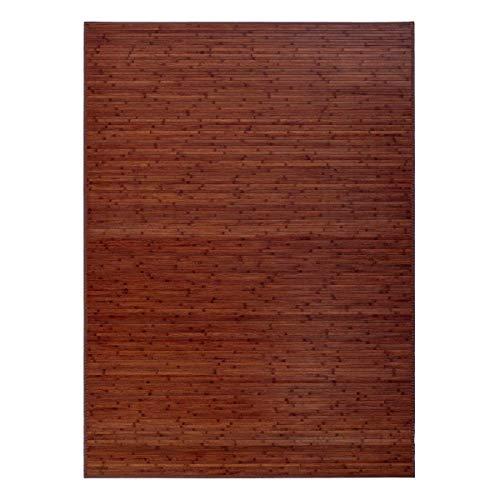 Alfombra de salón o Comedor Industrial marrón de bambú de 180 x 250 cm Factory - LOLAhome