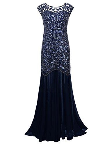 PrettyGuide Damen 1920s Schwarz Pailletten Gatsby Bodenlangen Abendkleid , Royalblau , 40-42 (Herstellergrosse: M) Blaues Pailletten Kleid