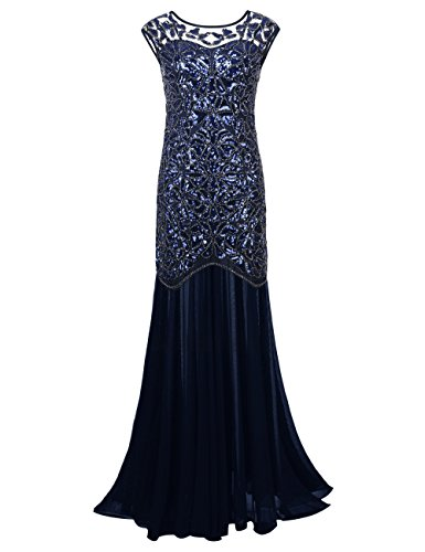PrettyGuide Damen 1920s Schwarz Pailletten Gatsby Bodenlangen Abendkleid , Royalblau , 44-46...