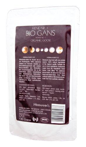Herrmanns Gans Menu 1 mit Süßkartoffeln, Zucchini, Nachtkerzenoel 130g Bio Hundefutter, 12er Pack (12 x 0.13 kg)