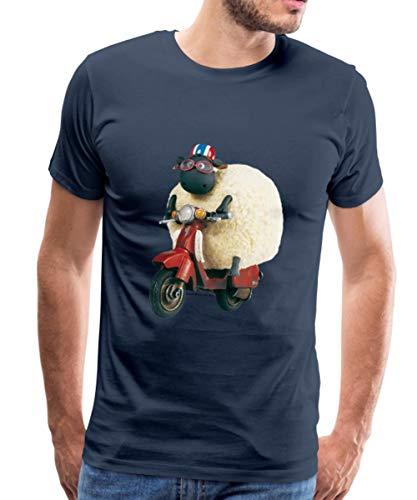 Spreadshirt Shaun Das Schaf Shirley Auf Roller Männer Premium T-Shirt, M, Navy