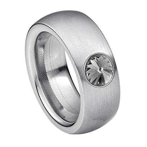 Heideman Damen Ring coma Schmuckring Fashionring silber farbend matt aus Edelstahl mit Stein black diamond grau von Swarovski | Ringgröße: - Ringe Diamond Black