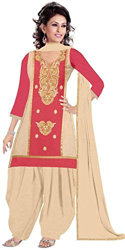 Rensila Women's Pink Color Cotton Fabric Dress Material