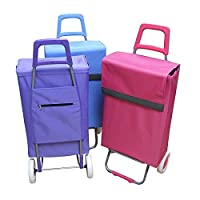 XXL with Base Shopping Trolley Hand Sack Parcel Boot Cart Trolley Shopping Trolley, Shopping Bag with Wheels, Microfibre, Pink), Assorted Colors