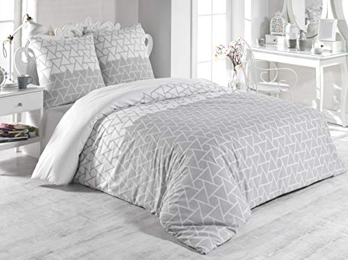 Buymax Bettwäsche-Set 3 Teilig, Renforce-Baumwolle, Reißverschluss, 200x200 cm, Grau, Dreiecke