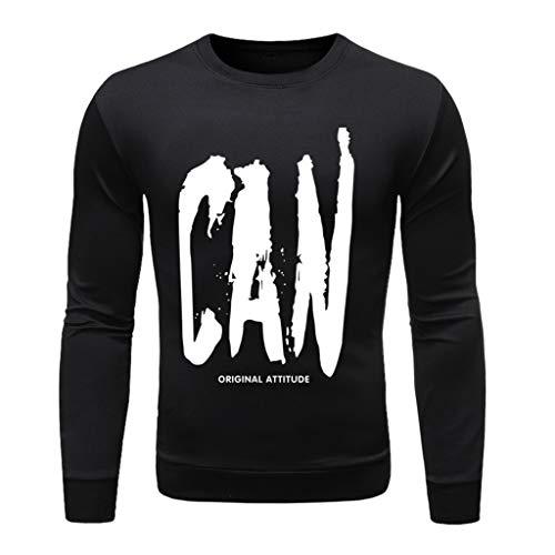 Xmiral T-Shirt Hemd Buchstabe Gedruckte Langärmlig Rundkragen Tops Einfach Oberteile Herbst Bodenbildung Wild Pullover Sweathshirt(l Schwarz,XL)