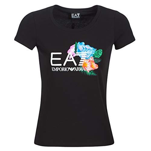 Emporio Armani EA7 Train Graphic Series RN Flower T-Shirts & Poloshirts Damen Schwarz - XL - T-Shirts